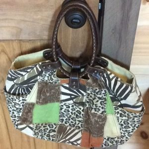 Fossil patchwork/animal print handbag w/ leather